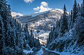 Mountain road from Kalkstein to Innervillgraten, Villgratental, East Tyrol, Tyrol, Austria