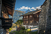 Historic houses in the village center of Obermauern, Virgental, East Tyrol, Tyrol, Austria