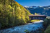 Historic bridge over the Bregenzerache near Klaus, Bregenzerwald, Vorarlberg, Austria