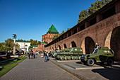 Historic Soviet tanks and military machines exhibited in the Nizhny Novgorod Kremlin, Nizhny Novgorod, Nizhny Novgorod District, Russia, Europe