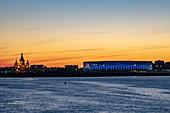 Alexander Nevsky Cathedral and Nizhny Novgorod Stadium along Volga River at sunset, Nizhny Novgorod, Nizhny Novgorod District, Russia, Europe