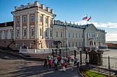 Tour group in front of Palace of the President of Tatarstan in the Kazan Kremlin, Kazan, Kazan District, Republic of Tatarstan, Russia, Europe