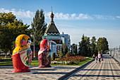 Oversized matryoshka dolls across from the cruise terminal on the Samara River, Samara, Samara District, Russia, Europe