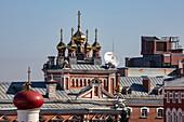 View of brewery and onion domes of the Russian Orthodox Church, Samara, Samara District, Russia, Europe