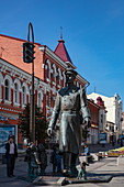 Bronze monument Uncle Stepa militiaman by the sculptor Z. Tsereteli in the pedestrian zone, Samara, Samara District, Russia, Europe