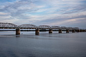 Railway bridge over Volga River, near Samara, Samara District, Russia, Europe