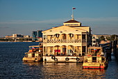 Excursion boats and floating restaurant along promenade on the bank of Volga River, Astrakhan, Astrakhan District, Russia, Europe