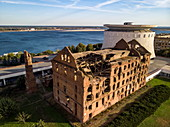 Aerial view of the Gerhardt Mill (one of the few remaining buildings from the Battle of Stalingrad in World War II) and the Volgograd Panorama Museum, Volgograd, Volgograd District, Russia, Europe