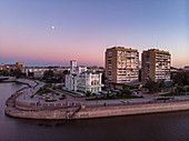 Aerial view of promenade on the bank of Volga river at dusk, Astrakhan, Astrakhan District, Russia, Europe