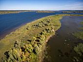 Aerial view coastline of Volga river, near Vasilyevo, Zelenodolsky district, Republic of Tatarstan, Russia, Europe