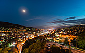 Aerial view of Sarajevo cityscape at night