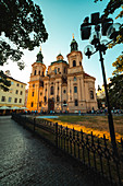 Low angle view of St. Nicholas Church in Prague city