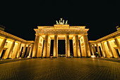 Low angle view of illuminated Brandenburg Gate at night,Berlin