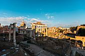 Elevated view of old ruins of Roman Forum,Rome