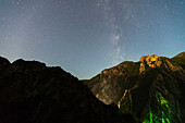 Scenic view of starry sky over mountain at night,Canyon Matka,Skopje,North Macedonia