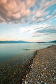 Scenic view of Lake Ohrid against cloudy sky,North Macedonia