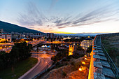 View of Skopje Fortress and cityscape during sunset,North Macedonia