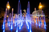View of warrior on horse statue and Alexander the Great Fountain at night,Skopje city