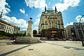 Low angle view of Hotel Moskva with fountain in foreground in Belgrade city