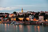 View of Belgrade city by Danube river at dawn