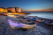 Boats on the beach at Ètretat, Normandy, France.