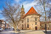 Neustädter Kirchenplatz and the Neustädter Church in Erlangen, Middle Franconia, Bavaria, Germany