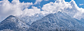 Morning view of the wintry Estergebirge, Eschenlohe, Bavaria, Germany, Europe