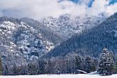 The summit of the wintry Hohen Kisten in Wolken, Eschenlohe, Bavaria, Germany