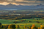 View from Auerberg over the autumnal foothills of the Allgäu Alps, Bavaria, Germany, Europe
