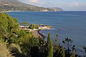 View of Pessada Harbor and the west coast of Kefalonia Island, Ionian Islands, Greece