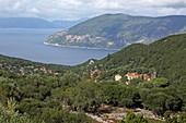 Katsarata with its view over the east coast to the island of Ithaka, island of Kefalonia, Ionian islands, Greece