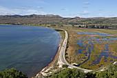 Road through marshland to Paliki Peninsula, Kefalonia Island, Ionian Islands, Greece
