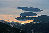 View from Agios Ilias to the small islands of the Tilevoides archipelago east of Lefkada in the Vlicho Bay, Ionian Islands, Greece