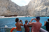 Shipwreck Beach on the west coast is a tourist magnet. It can only be reached by boat, Zakynthos Island, Ionian Islands, Greece