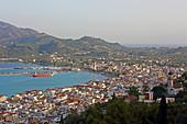 View from Kastro Zakynthou to the island capital Zakynthos and the port, Zakynthos Island, Ionian Islands, Greece