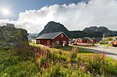 Houses in Sorvagen, Moskenesoya, Lofoten, Nordland, Norway