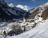 wintry snowy Heiligenblut, Grossglockner, Carinthia, Austria