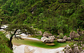 View on the emerald pools of the Meduna river, in the Tramontina Valley, Pordenone, in Friuli Region.Italy