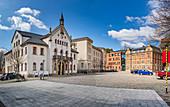 Marktplatz und Altes Rathaus in Sonneberg, Thüringen, Deutschland