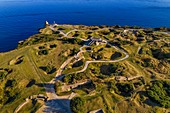 France, Calvados, Cricqueville en Bessin, Pointe du Hoc, ruins of German foications and bomb holes made by the Normandy landings of June 6 1944 during the Second World War (aerial view)