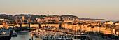 France, Seine Maritime, Pays de Caux, Cote d'Albatre, Dieppe, the Harbour with Saint Jacques church from the 13th century and the castle museum