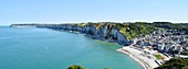 France, Seine Maritime, Yport, The village of Yport and the Coast of the Virgin, in the background the city of Fecamp
