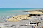 France, Normandy, Seine Maritime,Pays de Caux, Cote d'Albatre, Veules les Roses, The Most Beaul Villages of France, the beach