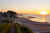 France, Normandy, Seine Maritime,Pays de Caux, Cote d'Albatre, Veules les Roses, The Most Beaul Villages of France, the beach and the cliffs