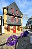 France, Finistere, Parc Naturel Regional d'Armorique (Armorica Natural Regional Park), Le Faou, labelled Les Plus Beaux Villages de France (The Most Beaul Villages of France), Creperie in Rue du General de Gaulle