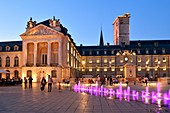 France, Cote d'Or, Dijon, area listed as World Heritage by UNESCO, fountains on the place de la Lib?ration (Liberation Square) in front of the tower Philippe le Bon (Philip the Good) and the Palace of the Dukes of Burgundy which houses the town hall and the Museum of Fine Arts
