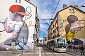 France, Isere, Fontaine, avenue Aristide Briand, The Wire by the French artist Julien Malland, also called Seth, fresco created during the Grenoble Street-Art Fest