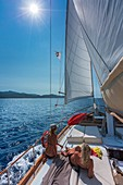 France, Haute Corse, Gulf of Saint Florent, the gulet type wooden boat of Jacques Croce, Aliso day Cruise compulsory mention