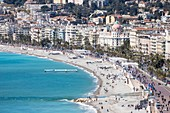 France, Alpes Maritimes, Nice, the Baie des Anges and the Promenade des Anglais, hotel Negresco