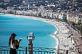 France, Alpes Maritimes, Nice, the Baie des Anges and the Promenade des Anglais from the Colline du Château